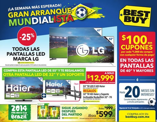 catalogo best buy ofertas televisores junio 2014