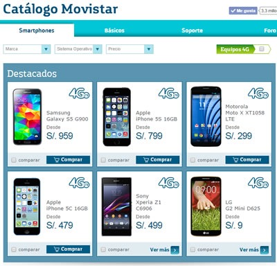 catalogo movistar 2014 smartphones peru