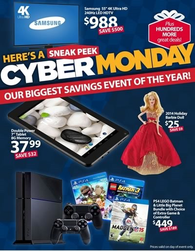 catalogo ofertas cyber monday 2014 walmart USA