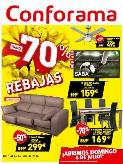 Conforama cat logo de rebajas de hasta 70 del 1 al 6 de for Muebles online rebajas