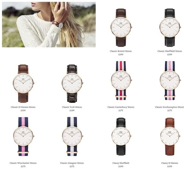 catalogo relojes daniel wellington