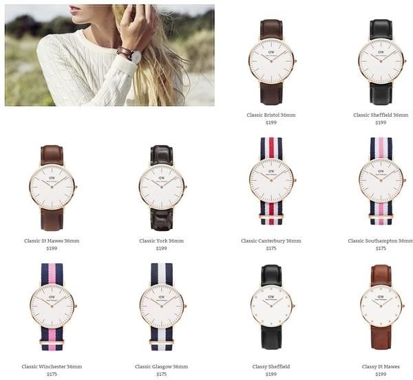 catalogo relojes daniel wellington
