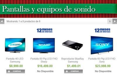 catalogo sams club navidad 2013 - pantallas y equipos de sonido