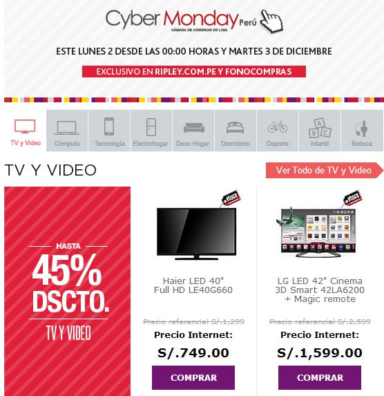 cyber monday 2013 ripley peru
