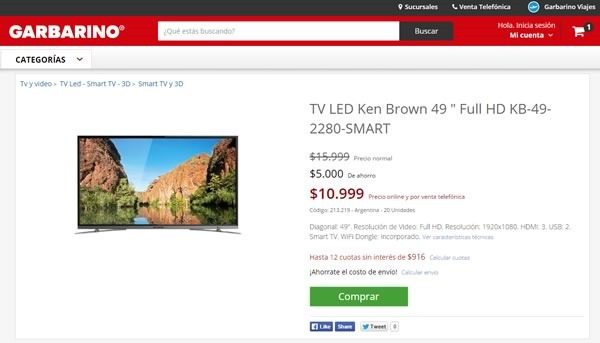garbarino cupon de descuento en televisor smart tv led ken brown - 01