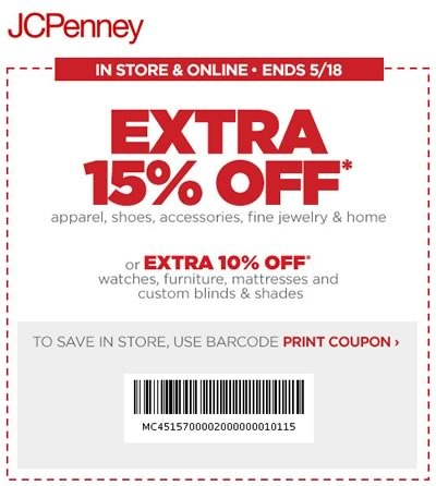 jcpenney cupon 15 off mayo 2014