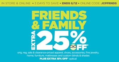 jcpenney friends and family cupon 25 off agosto 2014