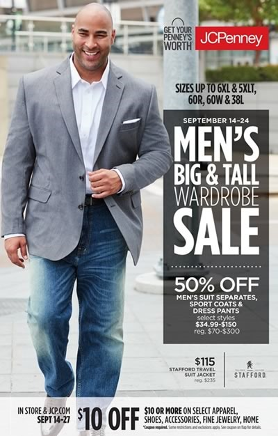 jcpenney mens big tall wardrobe sale sept 2017
