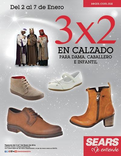 oferta 3x2 sears calzado 7 enero 2014