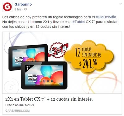 oferta garbarino 2x1 tablet cx 7