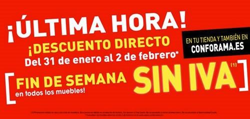 ofertas conforama fin de semana sin iva 31 1 2 febrero 2014