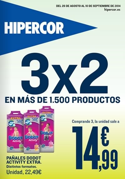 ofertas hipercor 3x2 hasta el 10 de septiembre 2014
