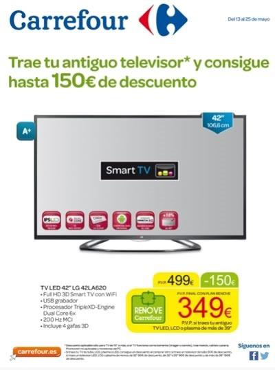 Ofertas plan renove de televisores en carrefour mayo 2014 for Tv plasma carrefour