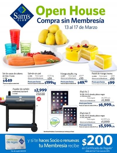 ofertas sams club open house marzo 2015