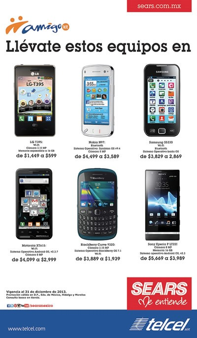 ofertas smartphones telcel sears mexico 31 diciembre 2013