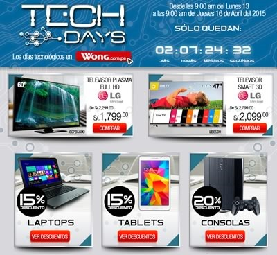 ofertas tech days wong abril 2015 peru