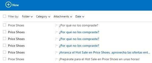 price shoes dejar de recibir correo spam