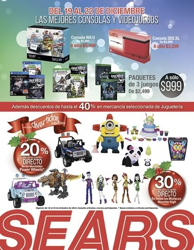sears mexico ofertas en consolas videojuegos diciembre 2014