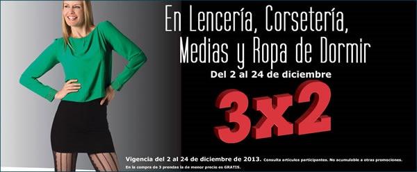 sears ofertas 3x2 lenceria corseteria medias y ropa de dormir diciembre 2013 mexico