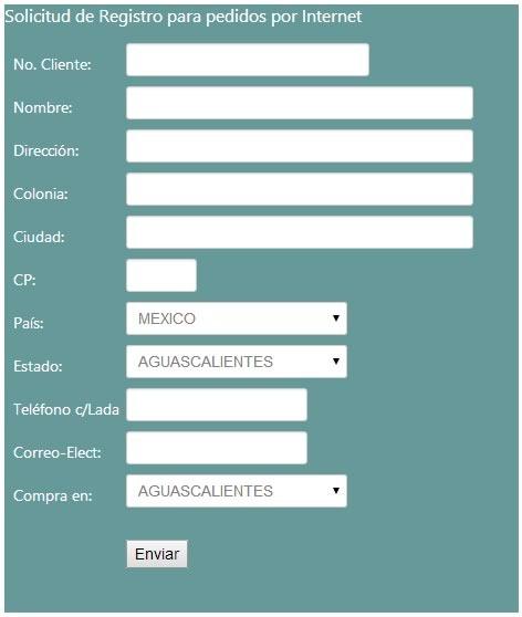 solicitud de registro de pedidos por internet