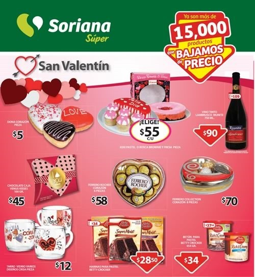 soriana super catalogo san valentin 2015