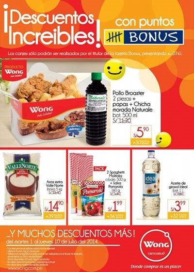 supermercado wong ofertas con puntos bonus julio 2014