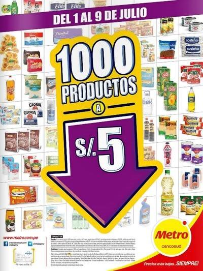 supermercados metro catalogo 1000 productos a 5 soles 9 de julio